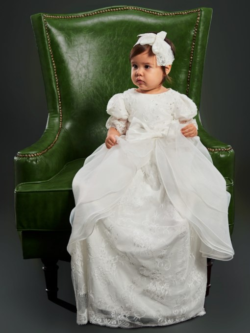 Short Sleeves Lace Christening Gown Long for Girl's Babies