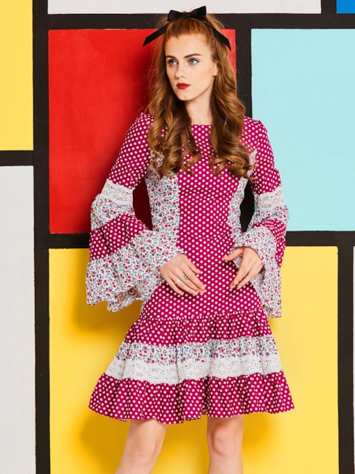 Purple Polka Dots Bell Sleeve Women's Day Dress