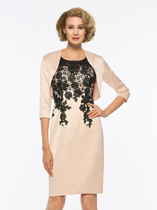Column Lace Short Mother of the Bride Dress with Jacket