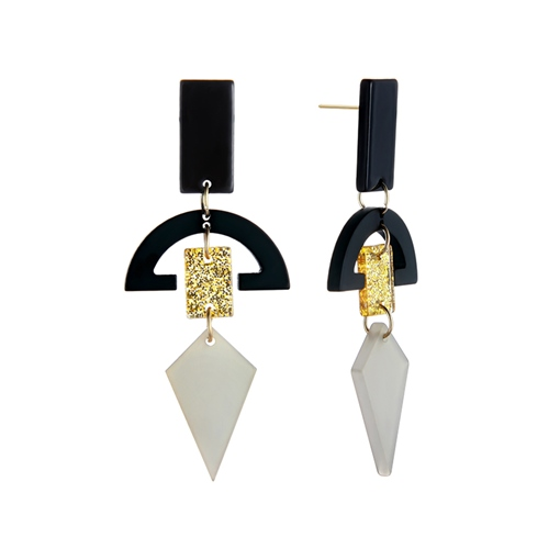 Semicircle Rectangle Hollow Out Alloy Acrylic Earrings
