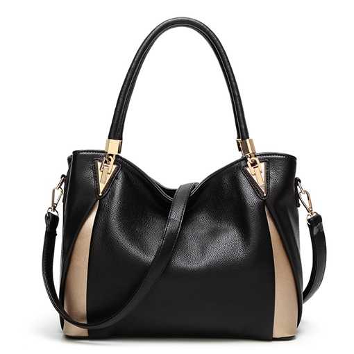 Concise Huge Space Color Block Zipper Tote