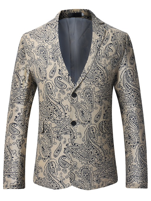 Notched Collar Double Button Ethnic Floral Printed Slim Fit Men's Blazer