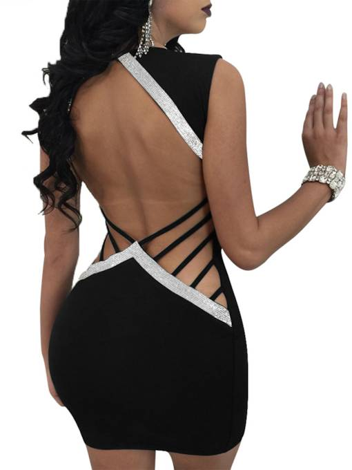 Sleeveless Rhinestones Decorated Women's Open Back Dress