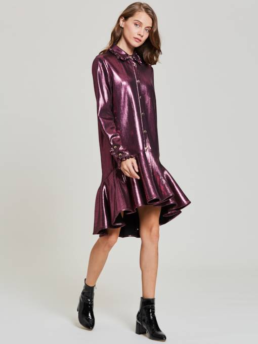 Fuchsia Single-Breasted Women's Long Sleeve Dress