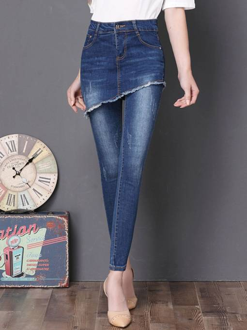 Plus Size High Waisted Worn Washable Women's Jeans