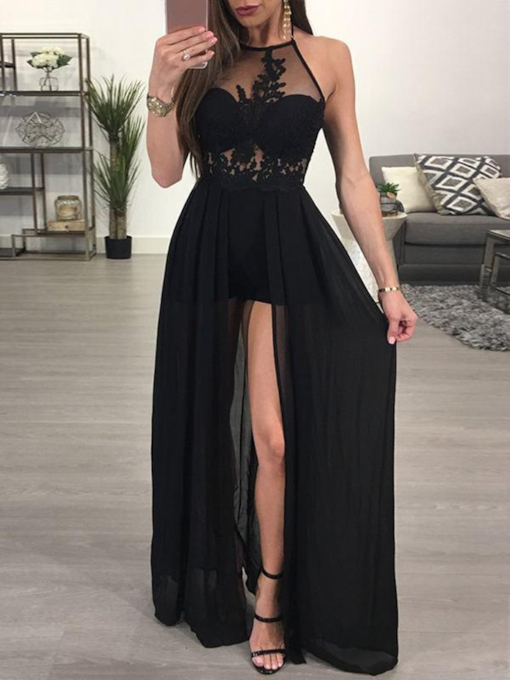 Halter Appliques Split-Front Floor-Length Evening Dress