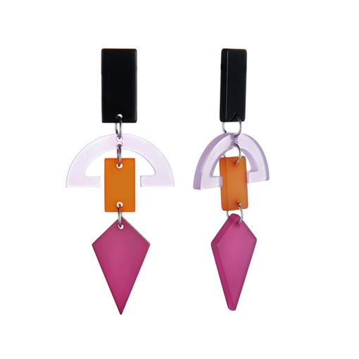 Semicircle Geometric Multilayer Acrylic Earrings