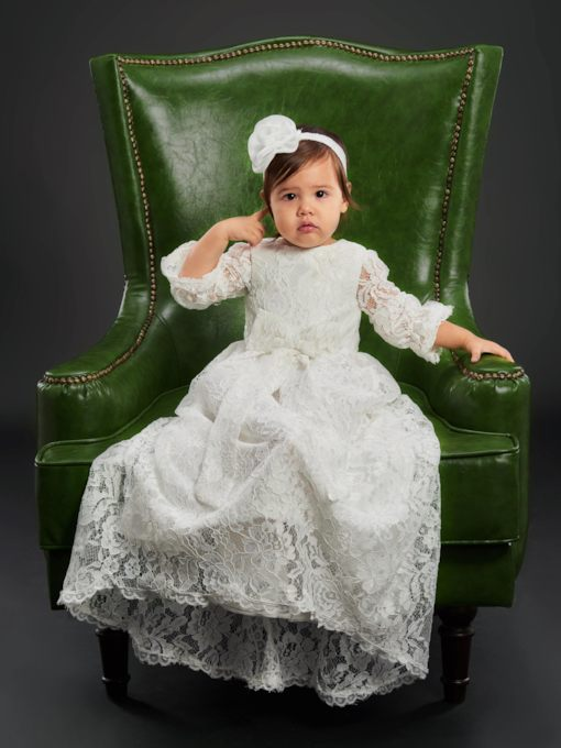 Lace Baby Girl's Christening Gown with Sleeves