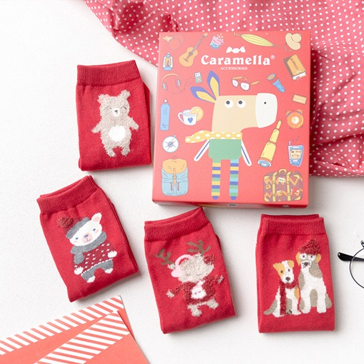 Red Cute Cartoon Animal Gift Box Socks for Ladies