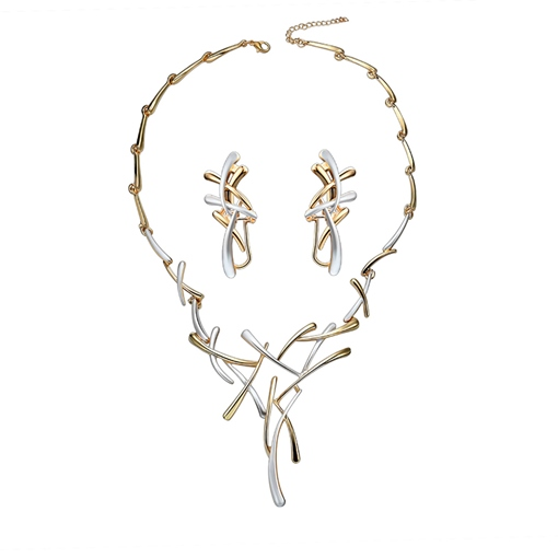 Geometric Overgild Link Chain Hollow Out Jewelry Sets