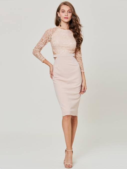 Lace Patchwork Cuts-Out Women's Sheath Dress