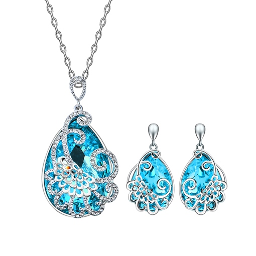 Blue Diamante Link Chain Pear Alloy Jewelry Sets
