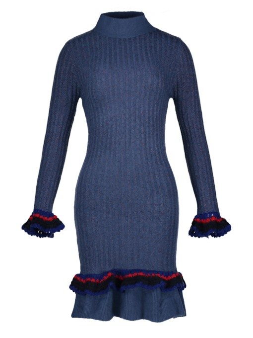 Stand Collar Falbala Pullover Women's Sweater Dress