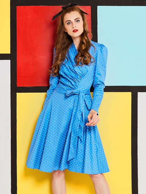 Blue Polka Dots Lace up Women's Day Dress