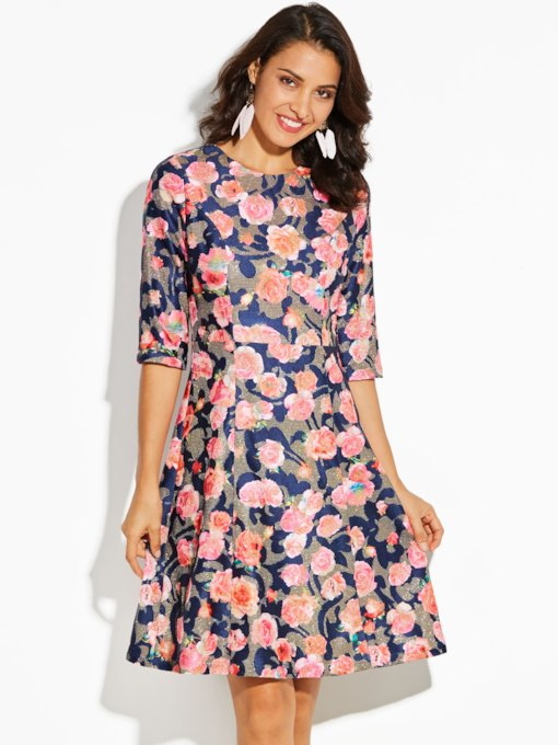 Color Block Floral Print Mid-Calf Vacation Women's A-Line Dress