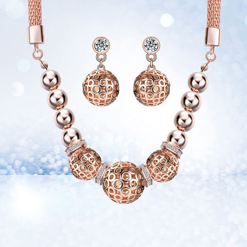Rose Gold Hollow Out Ball Diamante Jewelry Sets