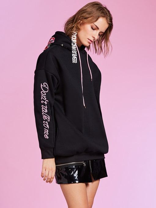 Floral Print Letter Embroideried Women's Hoodie
