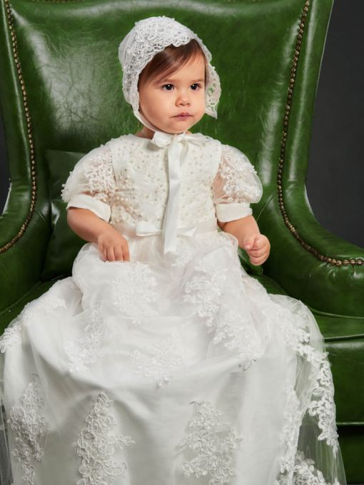 Lace Tulle Beading Bonnet Christening Gown for Girls