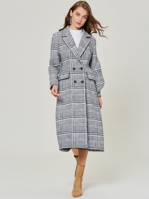 Winter Vintage Plaid Double-Breasted Slim Fit Women's Overcoat