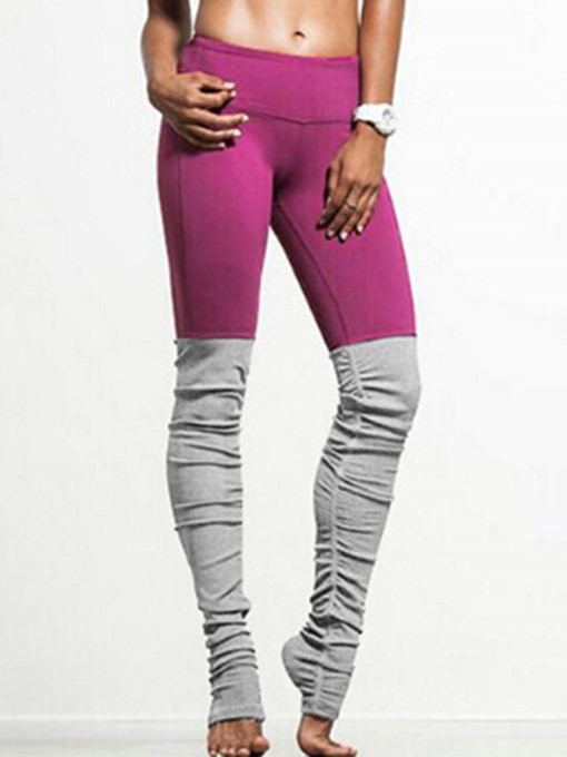 Plain Color Blocks Women's Yoga Leggings