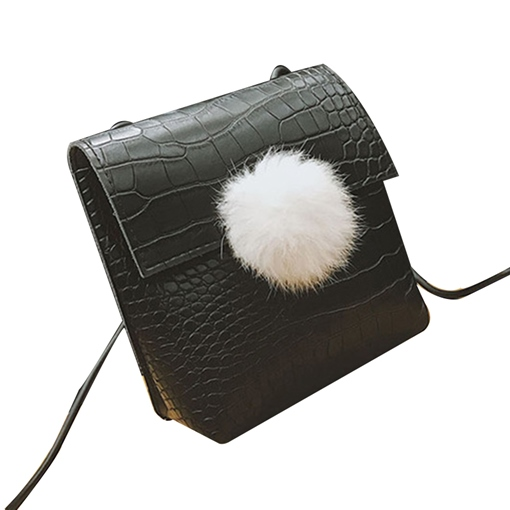 Croco-Embossed Balls Pendant Cross Body Bag