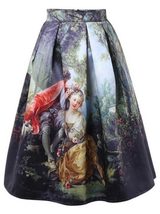 A-Line Pleated Print Expansion Women's Skirt
