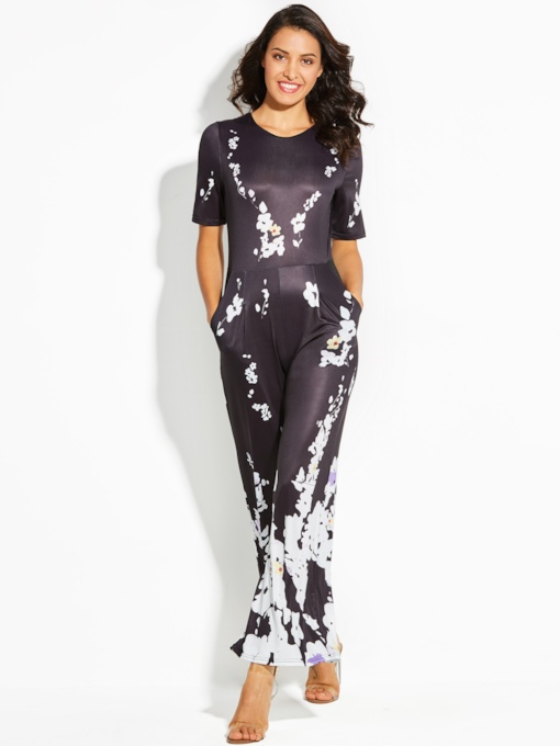 Vacation Floral Print Wide Legs Women's Jumpsuit