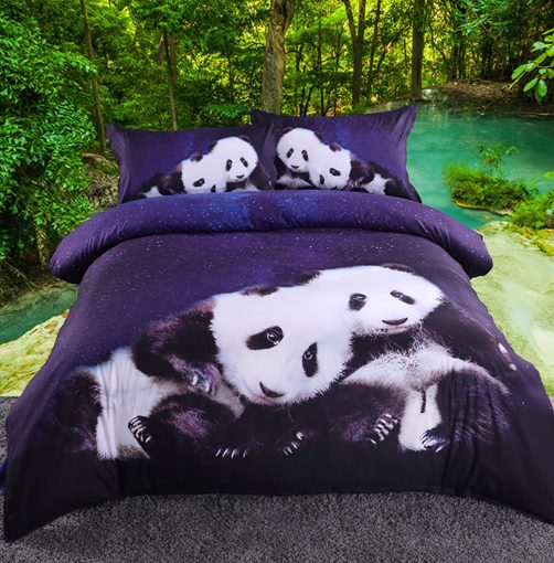 Panda Animal Floral Four-Piece Bedding Set