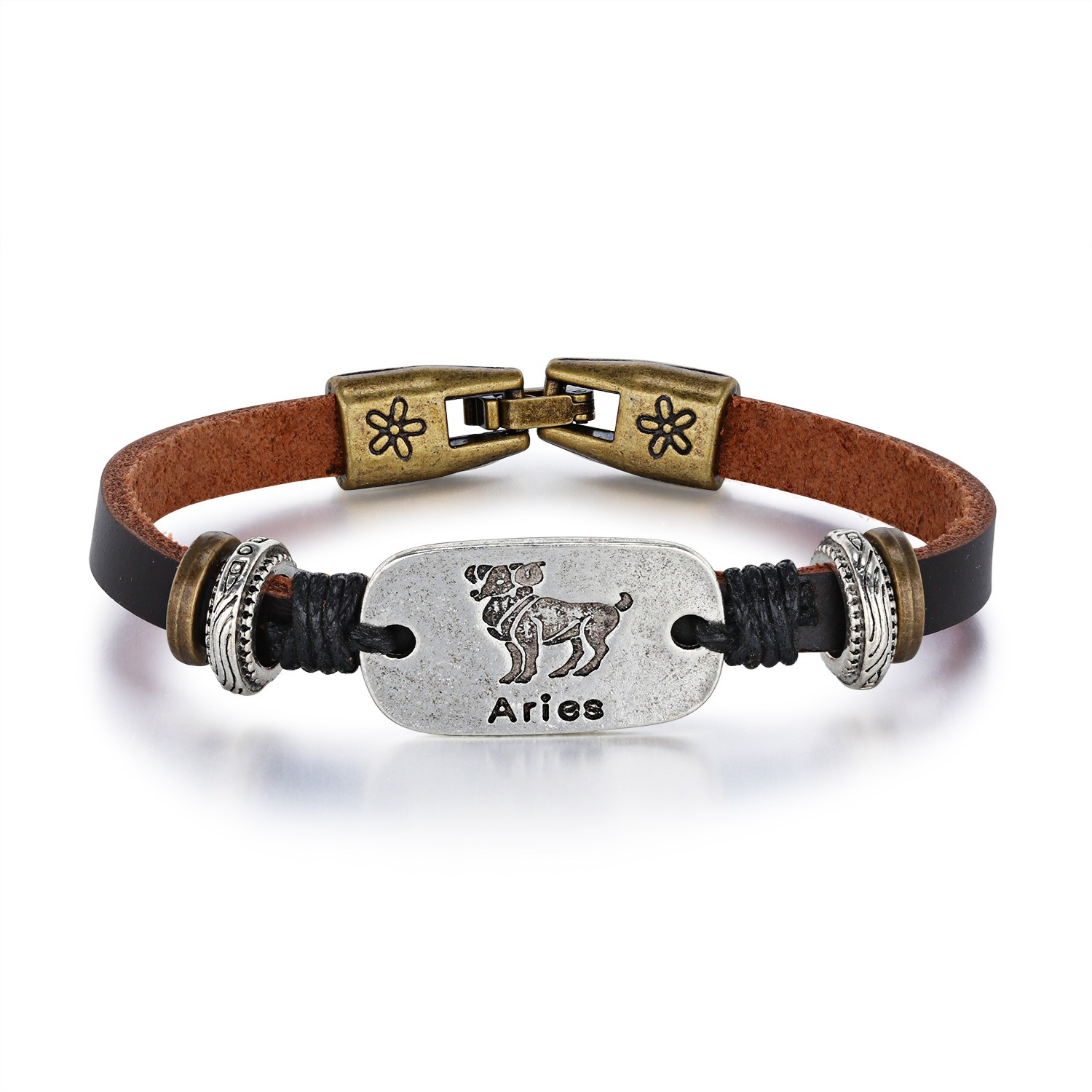 Image of Aries Rectangle Alloy PU Rope Personalized Bracelet