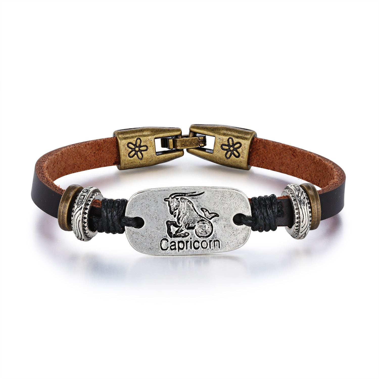 Image of Capricorn PU Rope Alloy Personalized Bracelet