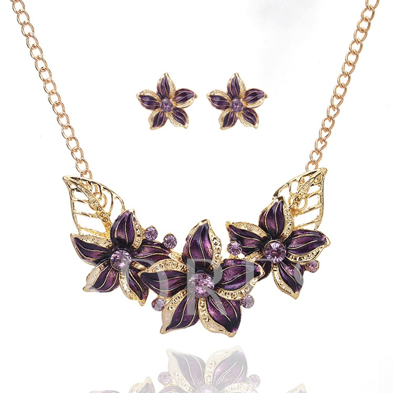Oil Drip Flower Leaf Alloy All Match Jewelry Sets