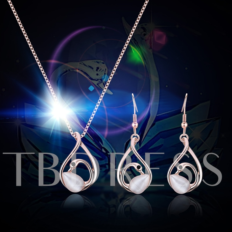 Box Chain Hollow Out Swan Alloy Elegant Jewelry Sets