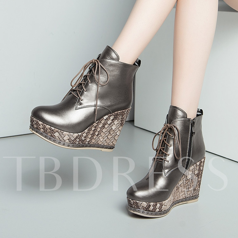 Wedge Heel Leather Boots Platform Women's Shoes(Plus Size Available)