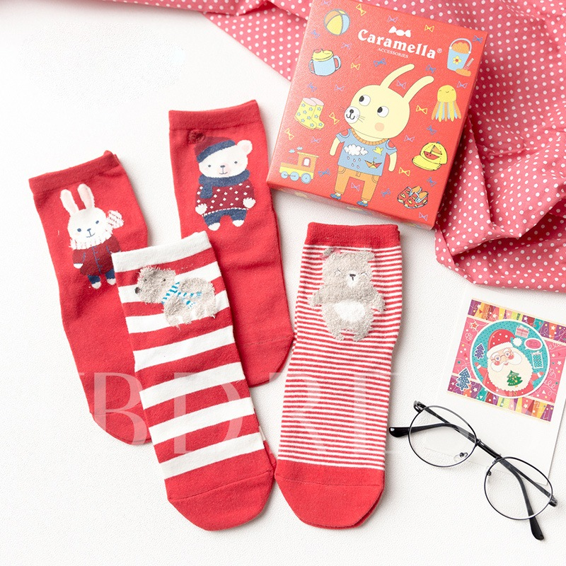 Red Cotton Christmas Gifts Box Socks for Women Packs of 4