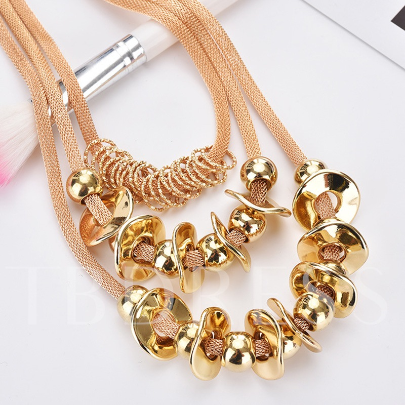 All-Match Multilayer Torus Ball Beads Alloy Necklace