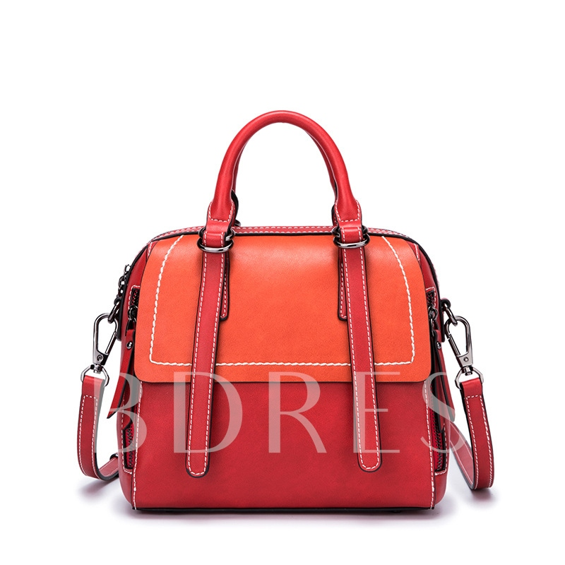 Retro Color Block Women Tote Bag