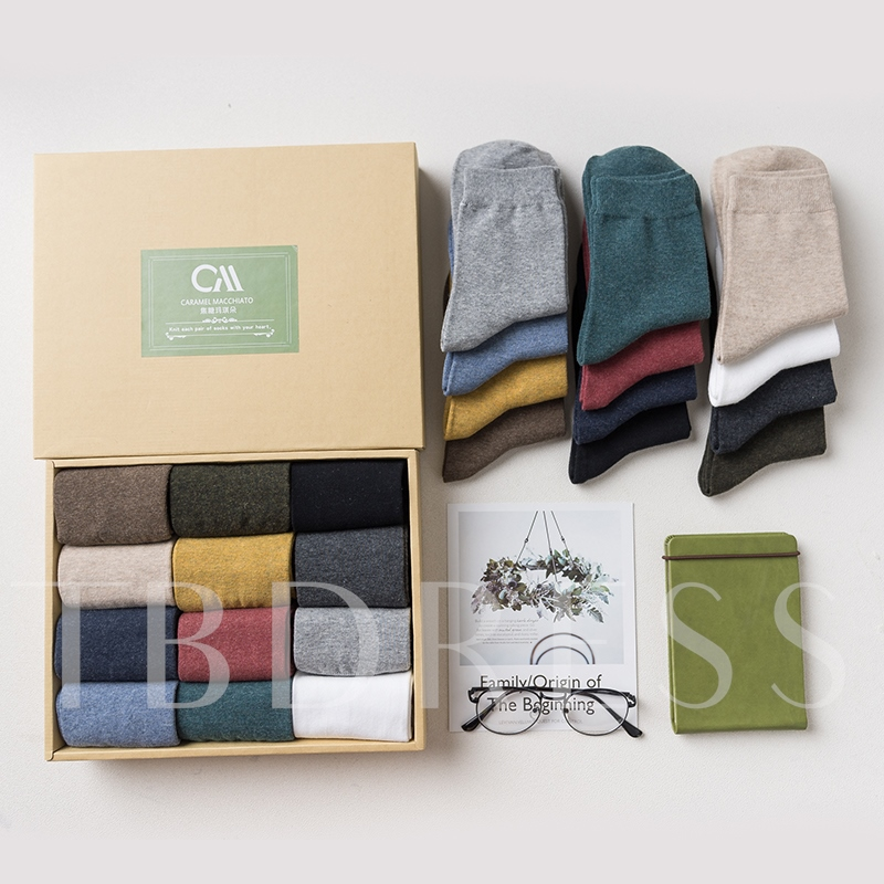 Solid Color Cotton Blends Crew Socks for Men 12 Pairs