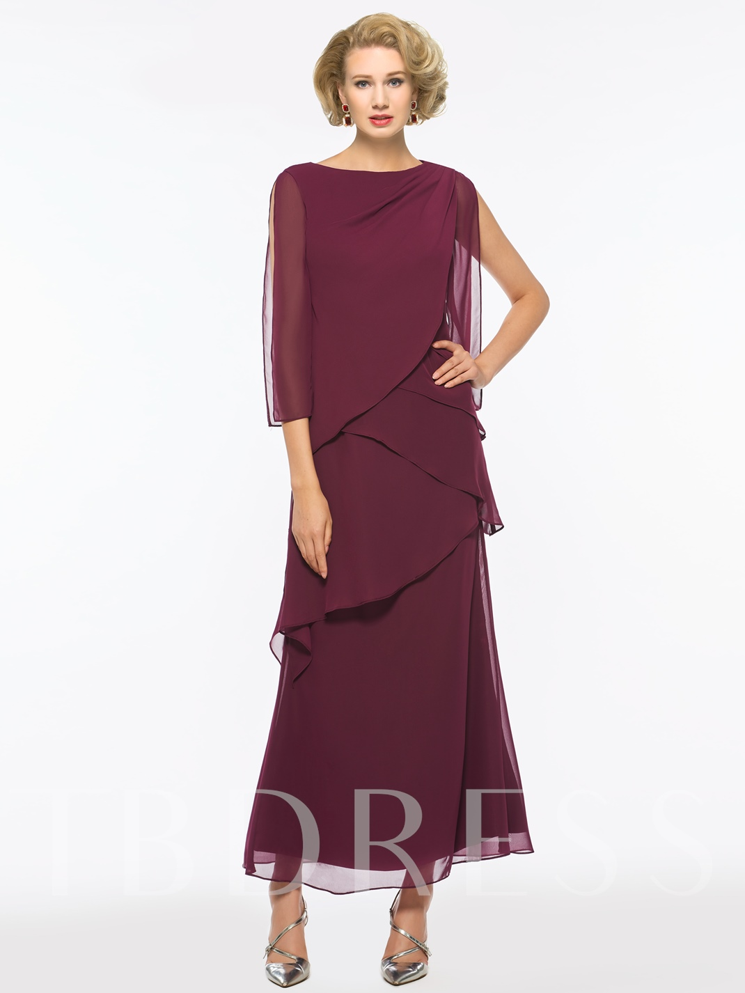Bateau Neck Tiered Ankle-Length Mother of the Bride Dress