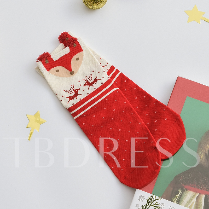 Christmas Gift Box Red Socks Girls Hosiery for Women 4 Pairs