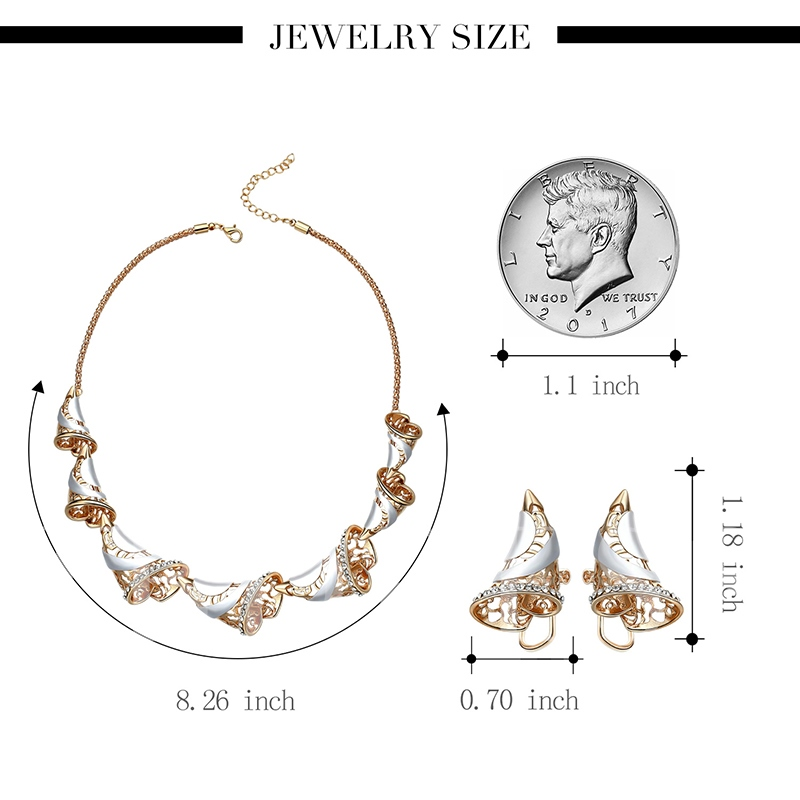 Ox Horn Design Diamante Hollow Out Jewelry Sets
