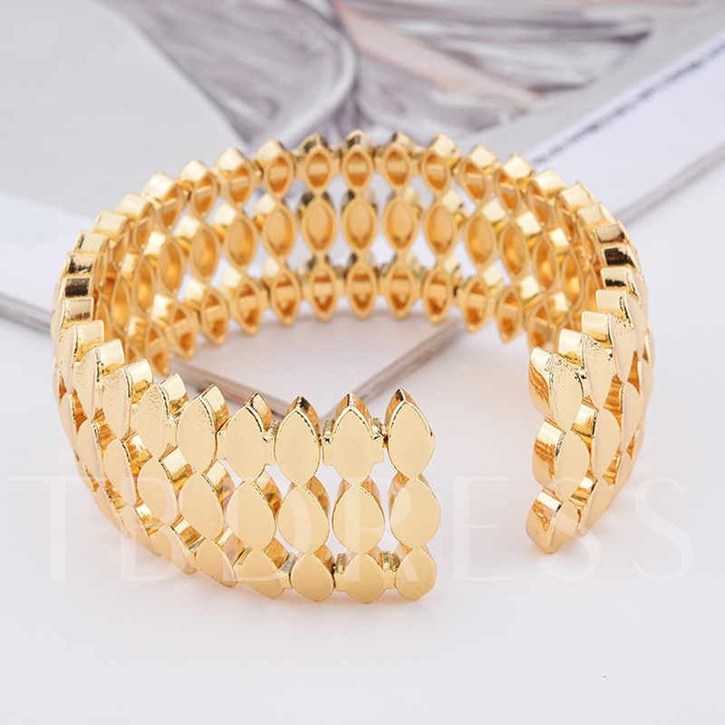 Opening Alloy Wide Hollow Out Simple Bracelet