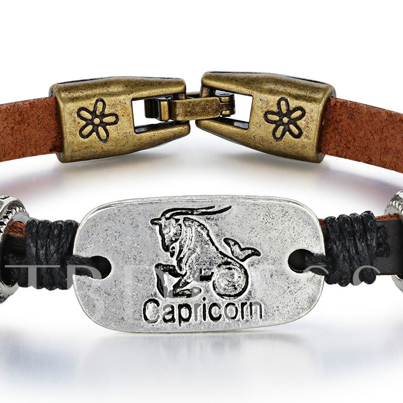 Capricorn PU Rope Alloy Personalized Bracelet