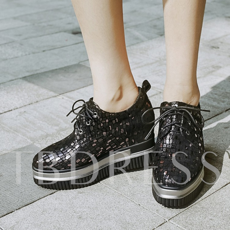 Leather Sneaker Lace Up Platform Shoes Women(Plus Size)