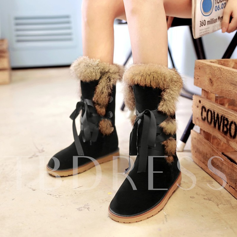 Lace Up Flat With Plush Warm Snow Boots for Women