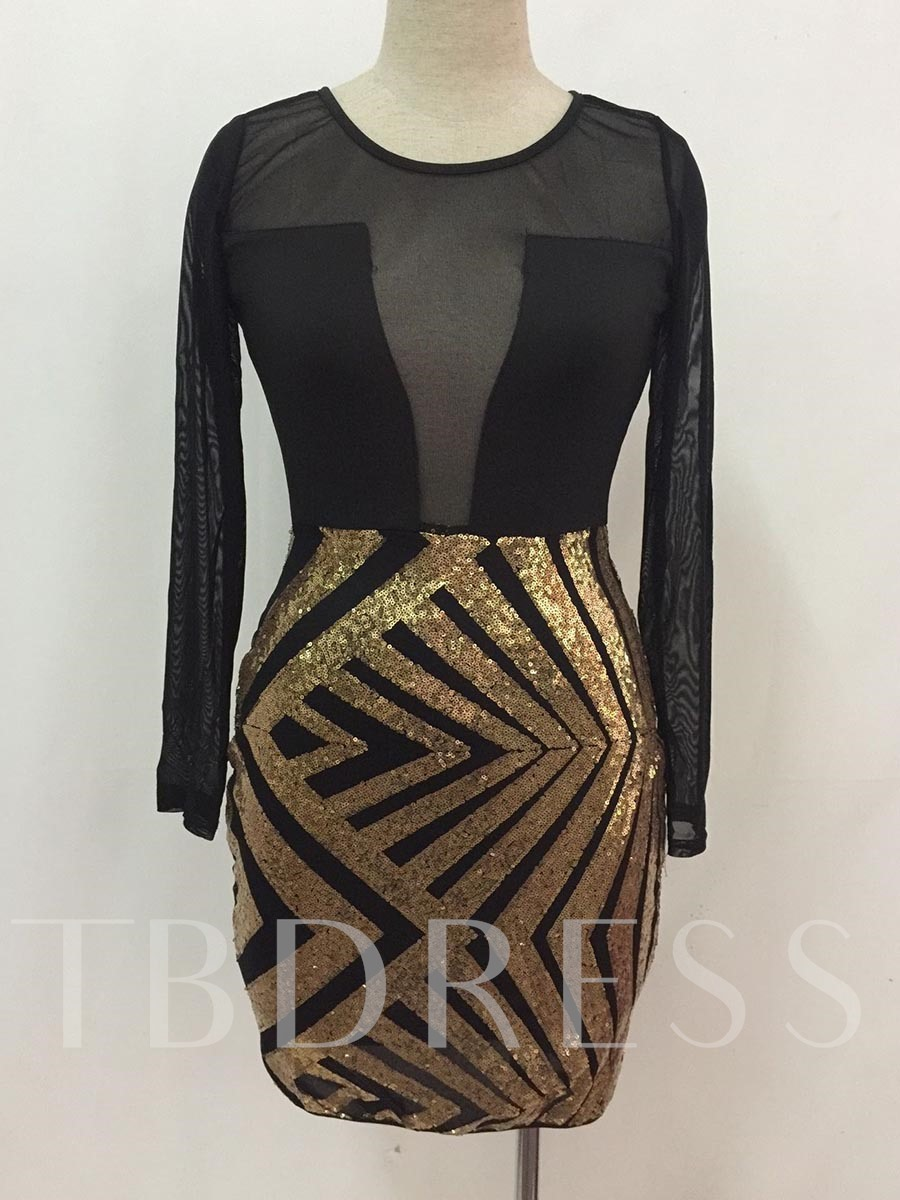 Buy Sequins See-Through Women's Bodycon Dress, Spring,Summer,Fall, 13026667 for $21.99 in TBDress store