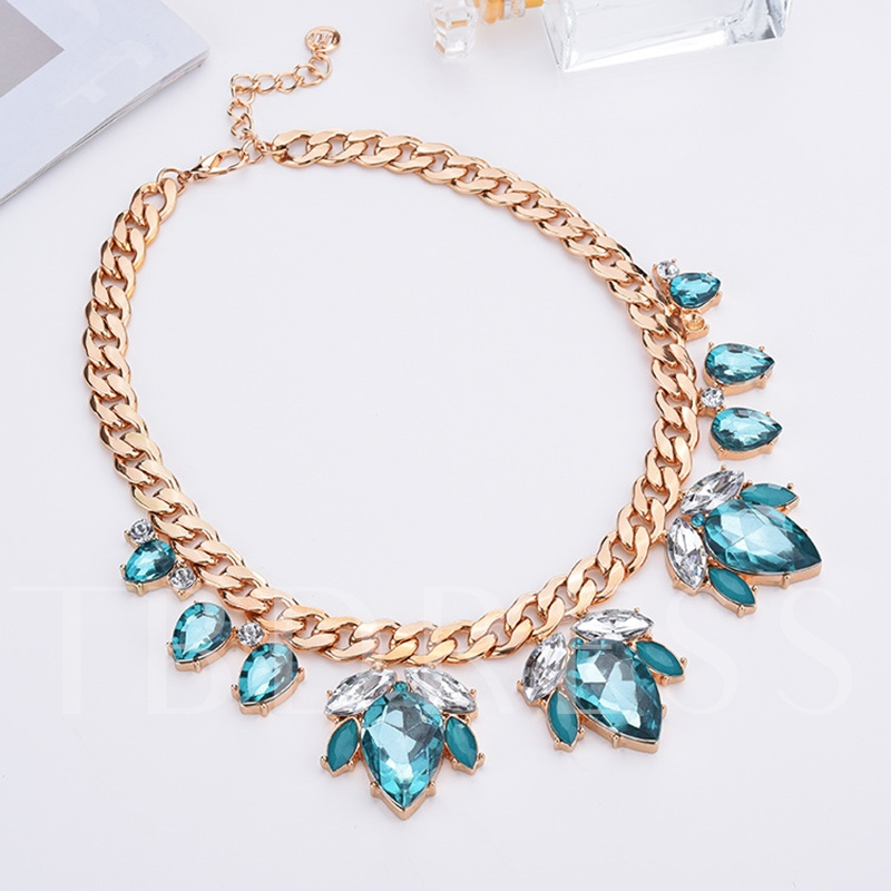 Horsewhip Overgild Pear Rhinestone Sweater Chain Necklace