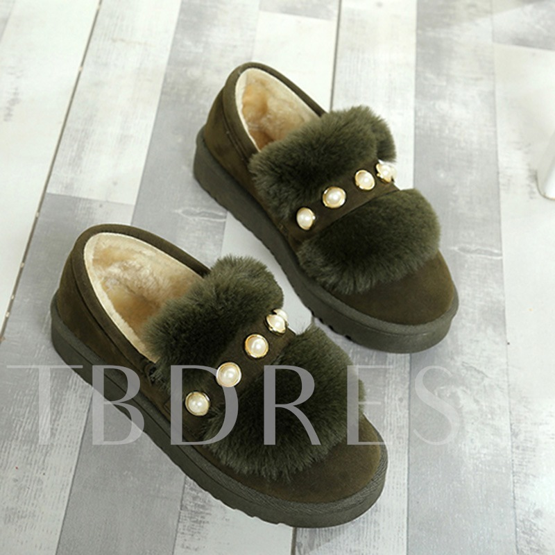 Flat With Beads Platform Plush Women's Winter Shoes
