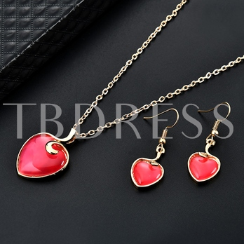 Heart Type Alloy Link Chain Simple European Jewelry Sets