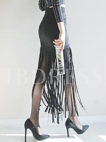 Tassel Solid Color Ankle Length Women's Skirt