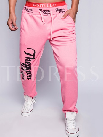 Lace-up Letter Printed Slim Fit Casual Men's Pants